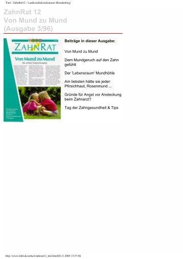 ZahnRat 12 Von Mund zu Mund (Ausgabe 3/96) - Zahnärztliche ...