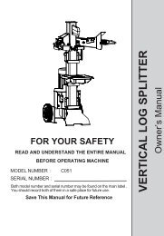 Save This Manual for Future Reference VERTICAL LOG SPLITTER