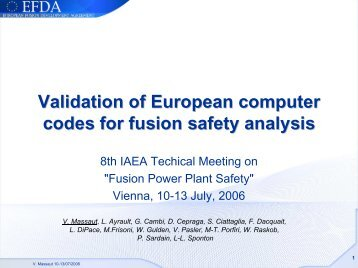 Validation of European computer codes for fusion safety analysis