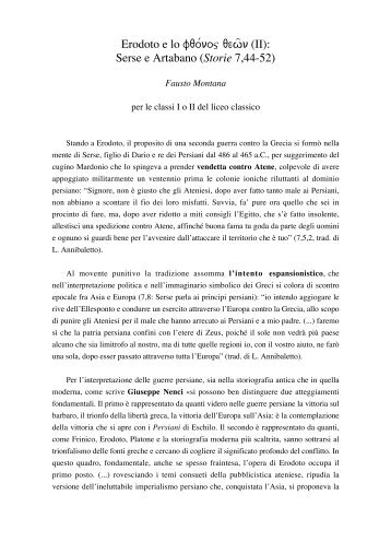 Erodoto e lo fqo/noj qewñ (II): Serse e Artabano (Storie 7 ... - Loescher