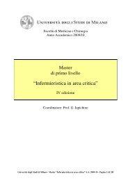 """""""Infermieristica in area critica"""" - Clinica pediatrica - Università degli ..."""