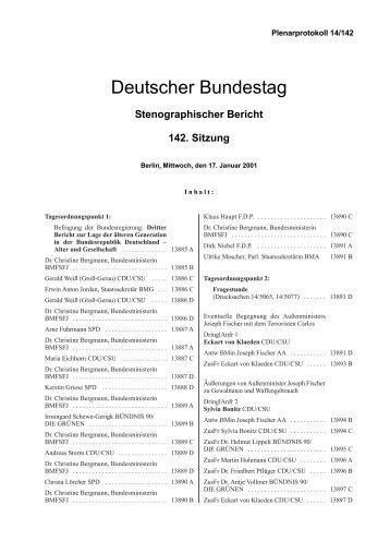 Stenographischer Bericht 142. Sitzung - Deutscher Bundestag