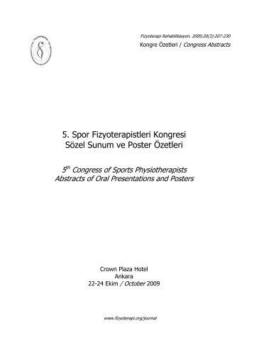 5. Spor Fizyoterapistleri Kongresi Sözel Sunum ve Poster Özetleri