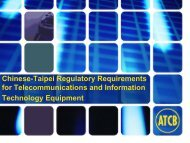 Chinese-Taipei Regulatory Requirements for Telecommunications ...