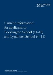 Current information for applicants to Pocklington School (11-18) and ...
