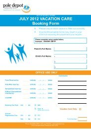 JULY 2012 VACATION CARE Booking Form - Pole Depot