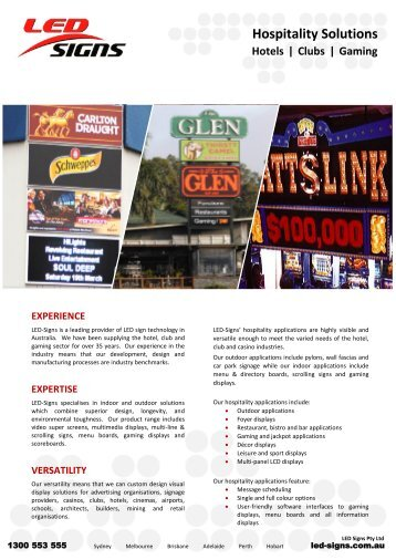 Hospitality Solutions Hotels | Clubs | Gaming - LED Signs