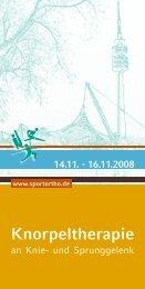 14.11. - 16.11.2008 Knorpeltherapie - Abteilung und Poliklinik für ...