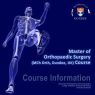 Master of Orthopaedic Surgery (MCh Orth, Dundee, UK) Course