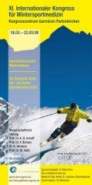 XI. Internationaler Kongress für Wintersportmedizin - Abteilung und ...