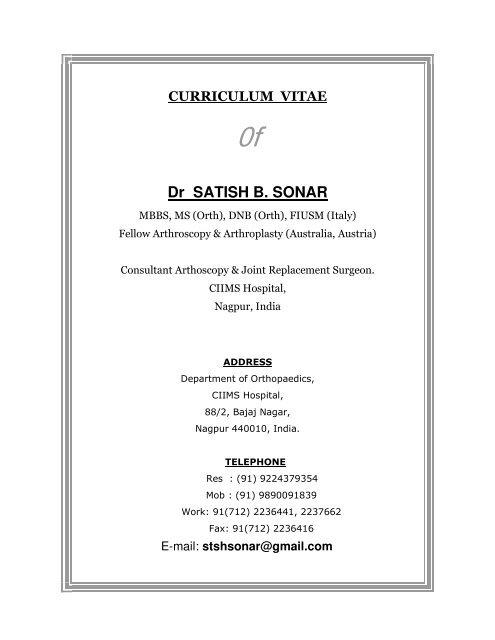 Dr Satish B Sonar Central India Institute Of Medical Science