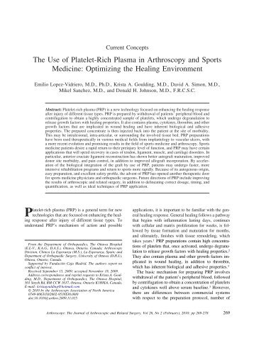 The Use of Platelet-Rich Plasma in Arthroscopy and Sports ...