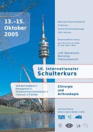 15. Oktober 2005 10. Internationaler Schulterkurs - Abteilung und ...