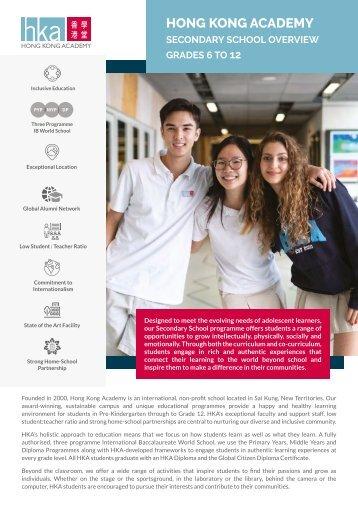 HKA Secondary School Overview 2021