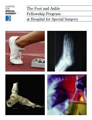 The Foot and Ankle Fellowship Program at Hospital for Special ...