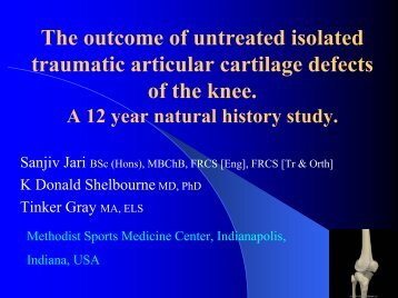 The outcome of untreated traumatic articular cartilage defects of the ...