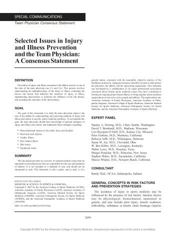 Selected Issues in Injury and Illness Prevention - American ...