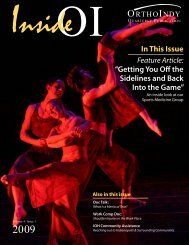 """In This Issue """"Getting You Off the Sidelines and Back Into ... - OrthoIndy"""