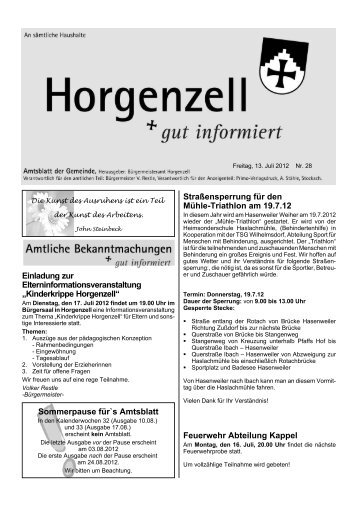 Ausgabe vom 13. Juli 2012 - Horgenzell