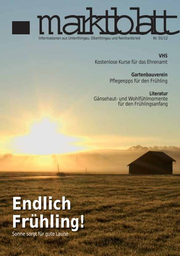 Aktuelle Ausgabe Marktblatt 01/2012 - Markt Unterthingau