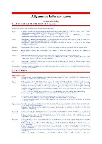 Allgemeine Informationen - Zillertaler Gäste Service