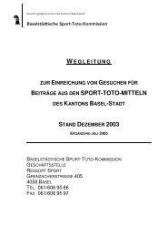 BEITRÄGE AUS DEN SPORT-TOTO-MITTELN - Sport Basel
