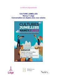 Culture jumelles - Nancy Liège
