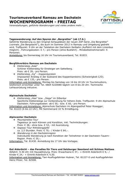 WOCHENPROGRAMM - FREITAG - Ramsau am Dachstein