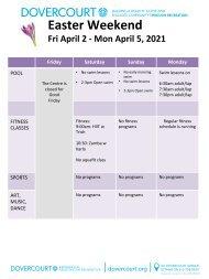 Dovercourt Easter 2021 schedule
