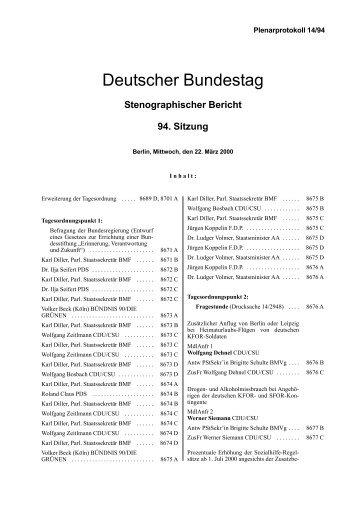Stenographischer Bericht 94. Sitzung - Deutscher Bundestag