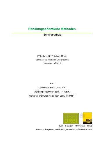 Handlungsorientierte Methoden - Karl-Franzens-Universität Graz