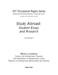 SIT Occasional Papers Series - School for International Training