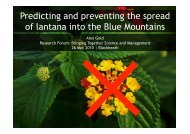 Predicting and preventing the spread of lantana into the Blue ...