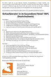 Verkaufsberater/-in im Aussendienst Retail, 100%/Deutschschweiz