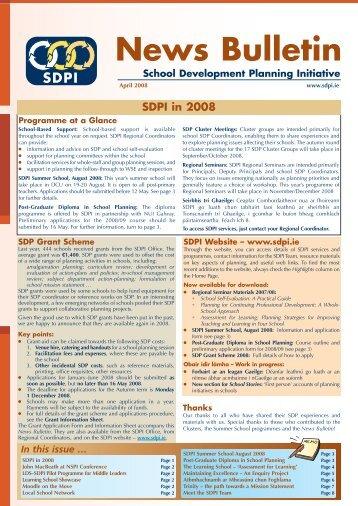 SDPI News Bulletin April 2008 - School Development Planning ...
