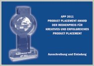 APP 2011 PRODUCT PLACEMENT AWARD DER MEDIENPREIS ...