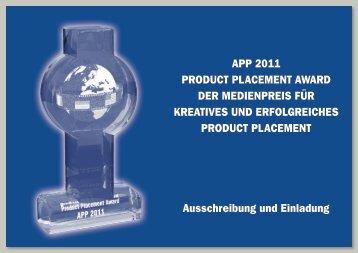 APP 2011 PRODUCT PLACEMENT AWARD DER MEDIENPREIS ...