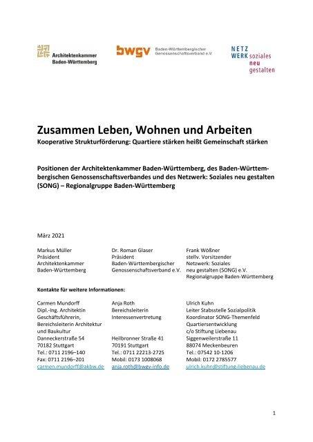 Positionspapier BWGV-AKBW-SONG - Zusammen Leben Wohnen und Arbeiten