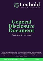 General Disclosure Document