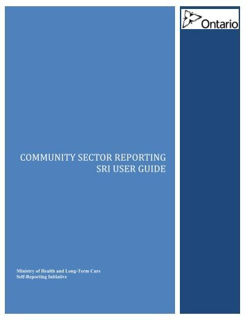 Community sector reporting SRI User Guide