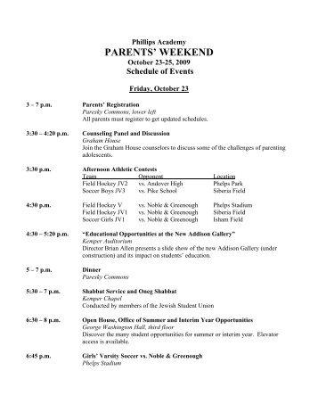 parents' weekend - Phillips Academy Andover