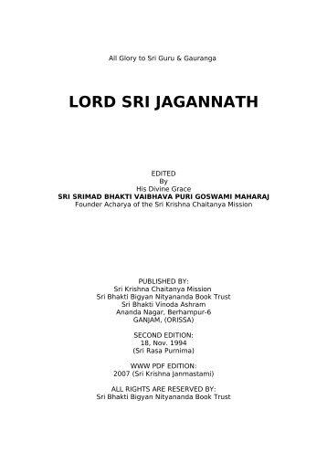 Lord Sri Jagannath - Srila Bhakti Vaibhava Puri Maharaja