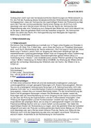 Widerrufsrecht Stand 01.08.2012 Verbrauchern steht ... - Giardino