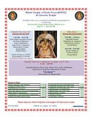 Hindu Temple of North Texas (HTNT) Sri Ganesha Temple Visarjana**