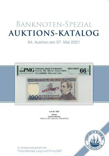 94. Auktion - Banknoten-Spezial - Emporium Hamburg