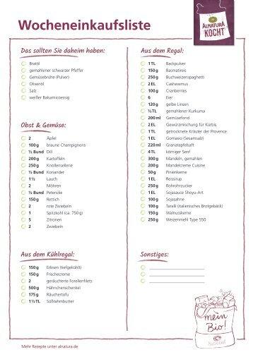 Alnatura Einkaufsliste für Wochenplan Nr. 1 (omnivor)
