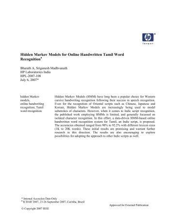 hidden markov model tutorial pdf
