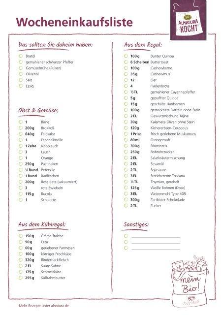 Alnatura Einkaufsliste für Wochenplan Nr. 2 (omnivor)