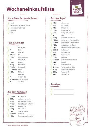 Alnatura Einkaufsliste für Wochenplan Nr. 3 (omnivor)