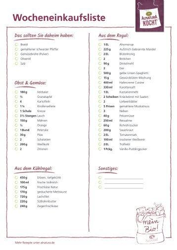 Alnatura Einkaufsliste für Wochenplan Nr. 4 (omnivor)